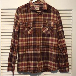 Levi's Plaid Button Down Causal Shirt.